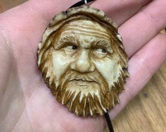 Elk Antler Pendant, Antler Jewelry, Bone Jewelry, Scrimshaw, Carving of a Face, Antler Necklace, Bone Necklace, Unique Art, by Josh Carte