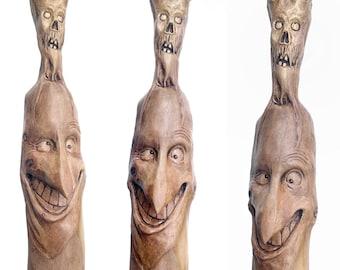 Walking Stick, Wood Carving, Macabre Art, Handmade Woodworking, Hiking Stick, Hand Carved Wood Art, by Josh Carte, Made in Ohio