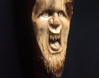 Wood Carving, Chainsaw Carving, Made In Ohio, Wood Spirit Carving, Carving of a Face, by Josh Carte, Hand Carved Wood Art