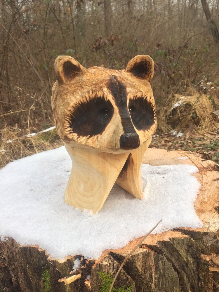 Summer sale raccoon wood carving chainsaw carving made in ohio