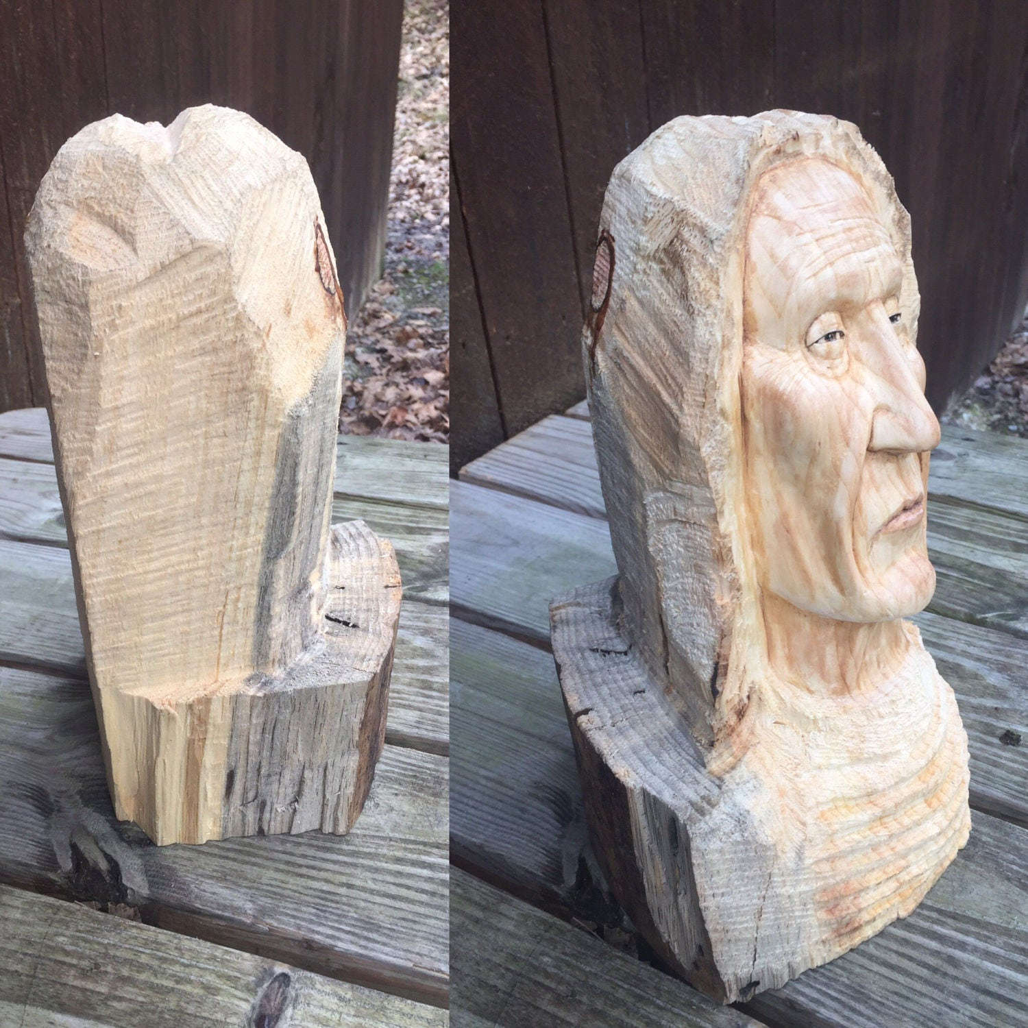 Native american wood carving indian sculpture chief bust