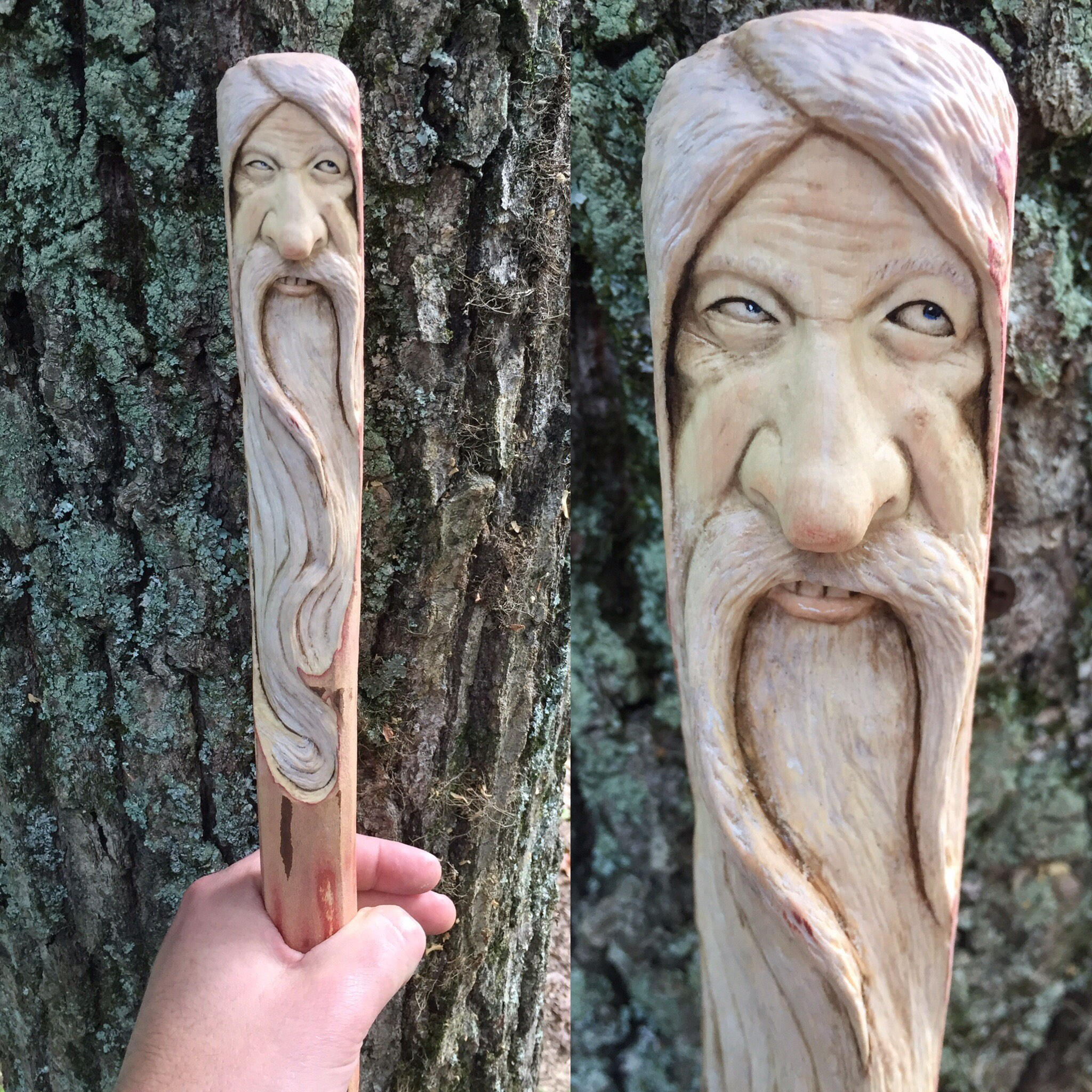 Walking stick wood carving handmade woodworking staff cane