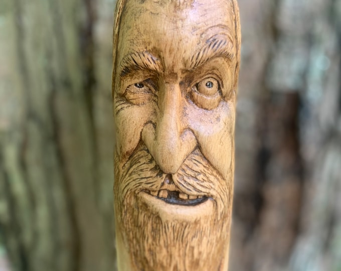 Walking Stick, Carved Walking Stick, Wood Carving, Hand Carved Wood Art, by Josh Carte, Hiking Stick Carving, Unique Wood Art