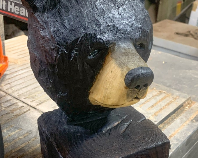 Bear Chainsaw Carving, Bear Wood Carving, Black Bear Sculpture, Hand Carved Wood Art, by Josh Carte, Wooden Bear, Chainsaw Art
