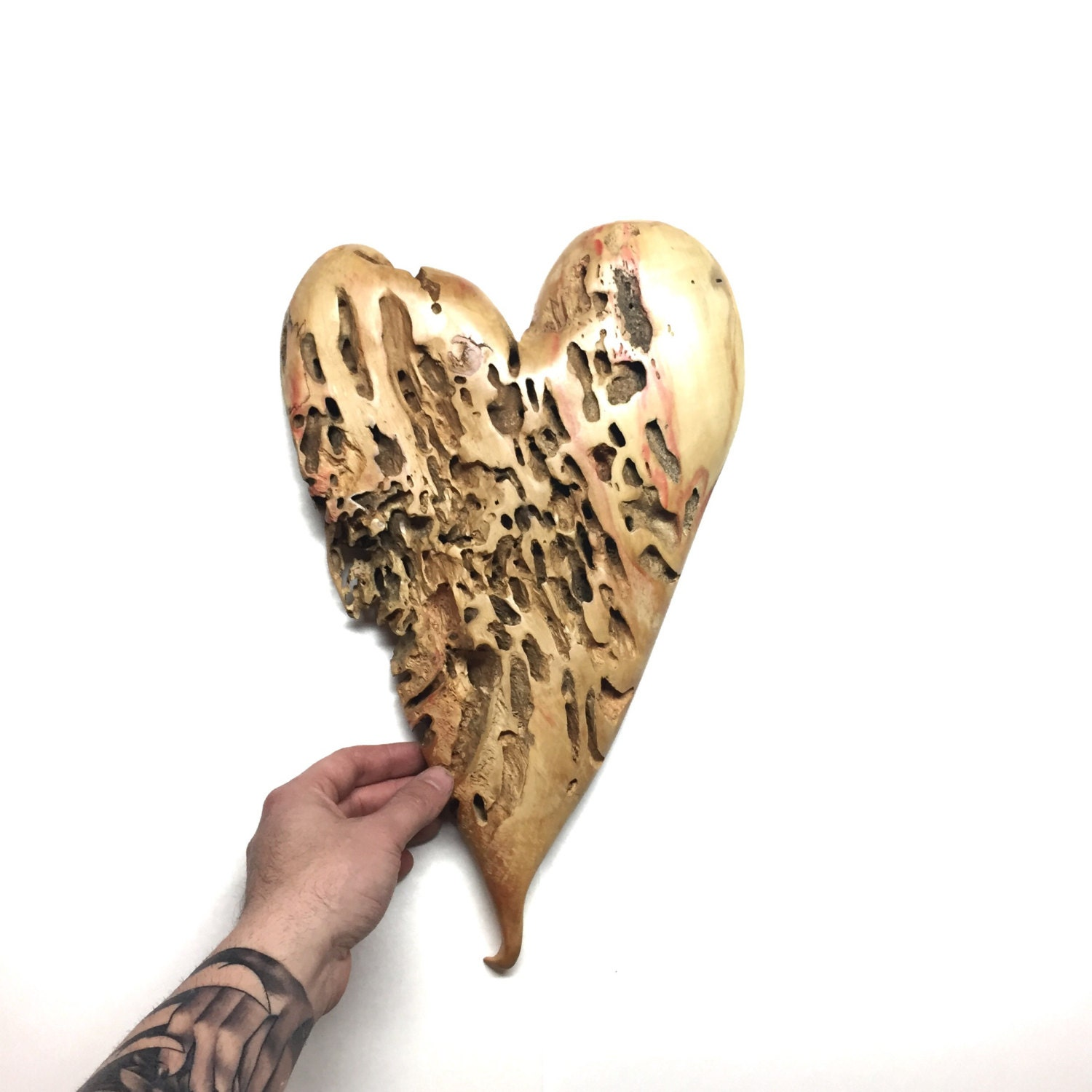 A Personalized 5th Anniversary Wood Gift Hand Carved Heart Carving Sculpture For Her Handmade Woodworking Original Art
