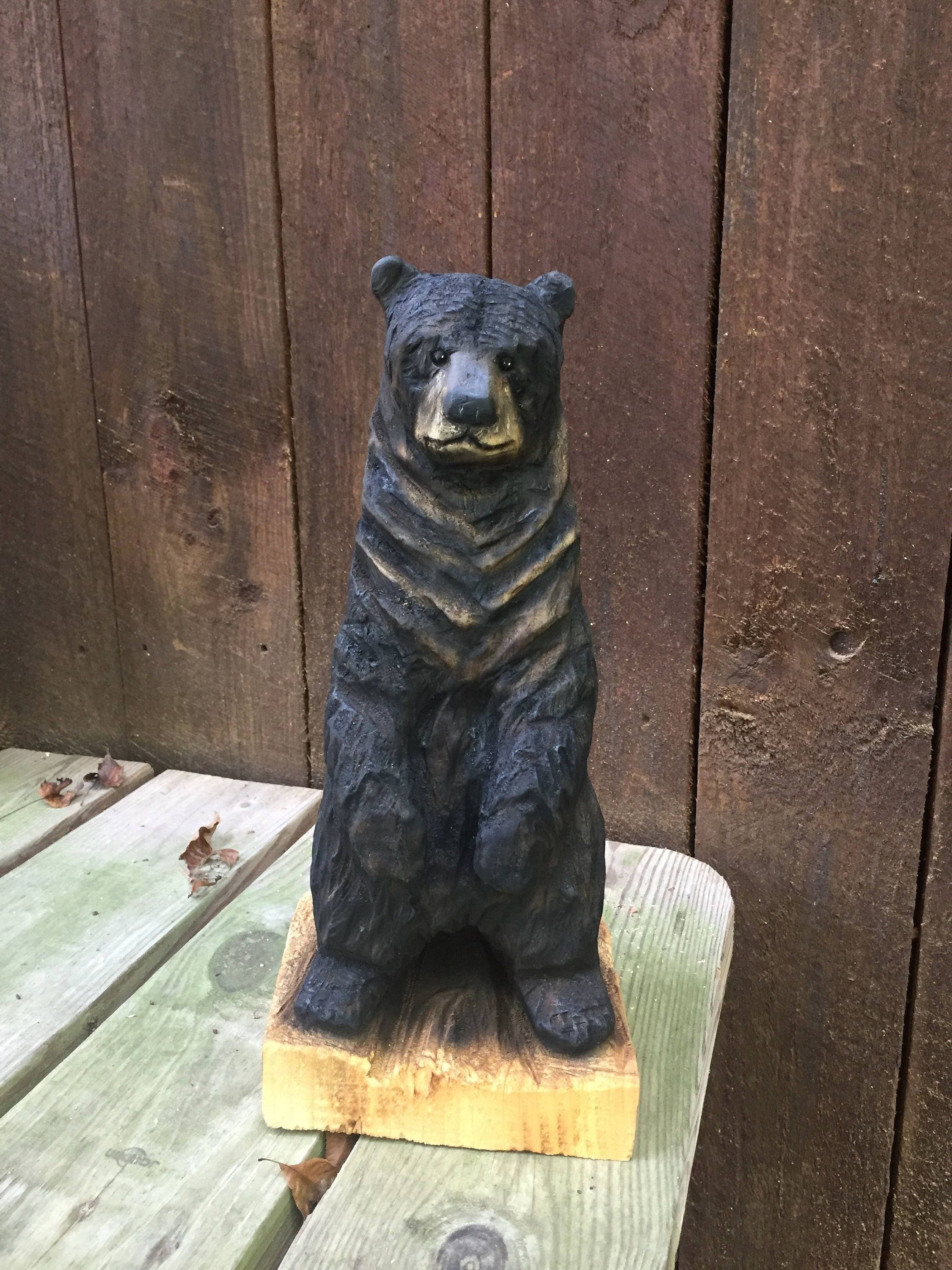 Popular Bear Wood Carving, Chainsaw Carving, Handmade Woodworking, Wood  JL95