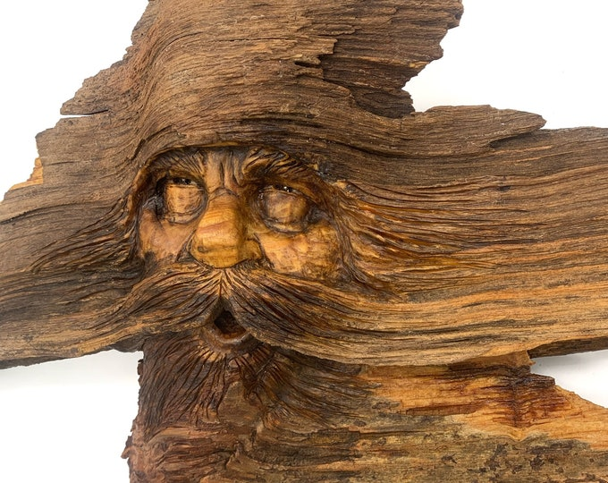 """Wood Carving, 24"""" wide Wood Spirit, Wood Wall Art, Wood Spirit Carving, Hand Carved Wood Art, by Josh Carte, Carving of a Face, Unique Art"""