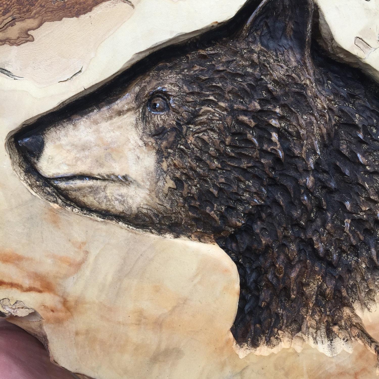 Bear wood carving wood sculpture hand carved wood art log