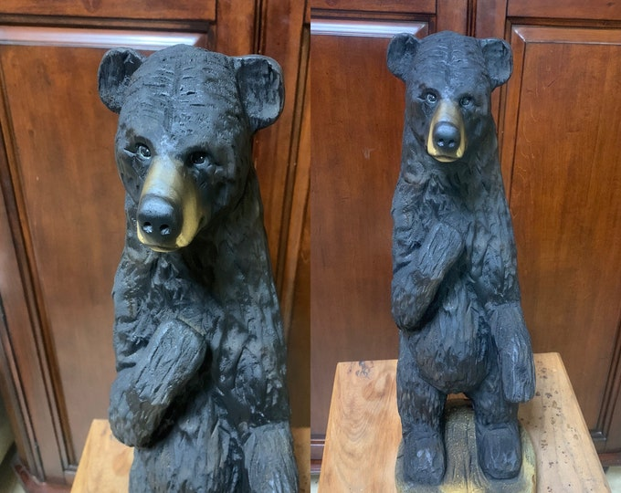 Bear Chainsaw Carving, Carved Bear, Wooden Bear, Bear Wood Carving, Black Bear, Wood Carving, Hand Carved Wood Art, by Josh Carte