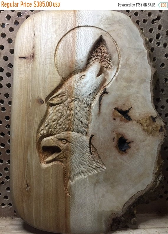 Summer sale eagle wolf wood carving hand carved wood art