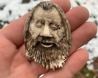 Bone Pendant, Antler Art, Elk Antler Carving, Bone Necklace, Carving of a Face, by Josh Carte, Hand Carved Bone Art, Made in Ohio