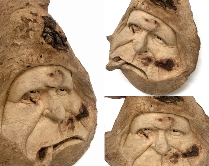 Wood Carving, Wood Spirit Carving, Hand Carved Wood Art, by Josh Carte, Wood Wall Art, Carving of a Face, Oddball Art, Log Home Decor