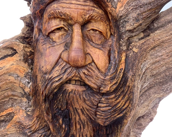 Wood Carving, Wood Spirit Carving, Carving of a Face, Wood Wall Art, by Josh Carte, Hand Carved Wood Art, Unique Art, Wizard, Natural Art