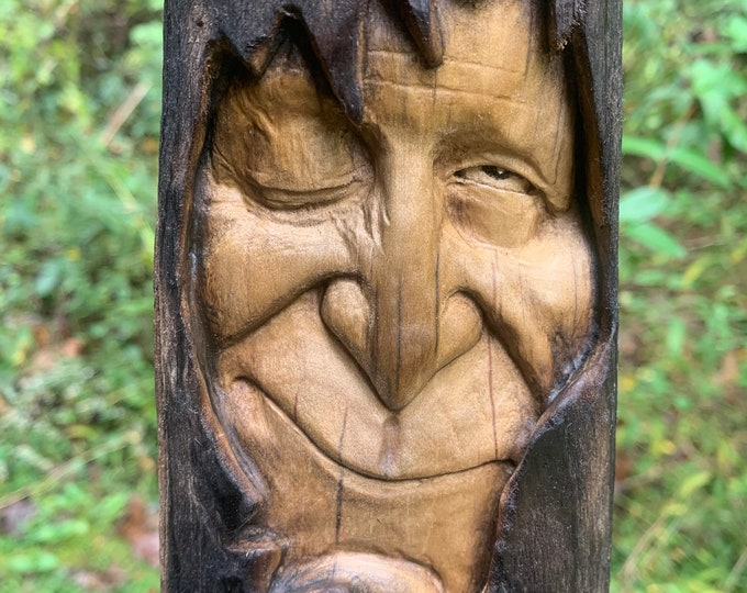Wood Carving, Driftwood Carving, Carving of a Face, Wizard, Driftwood Art, Wood Wall Art, by Josh Carte, Unique Art, Hand Carved Wood Art