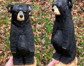 Bear Carving, Chainsaw Carved Bear, Wooden Bear, Bear Chainsaw Carving, Bear Wood Carving, Hand Carved Bear, by Josh Carte, Black Bear
