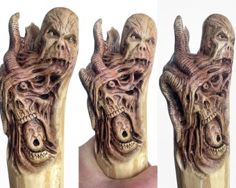 Walking Stick, Wood Carving, Dark Art, Skull Wood Carving, by Josh Carte, Macabre Wood Art, Hiking Stick, Evil Art, Creepy Art, Hand Carved
