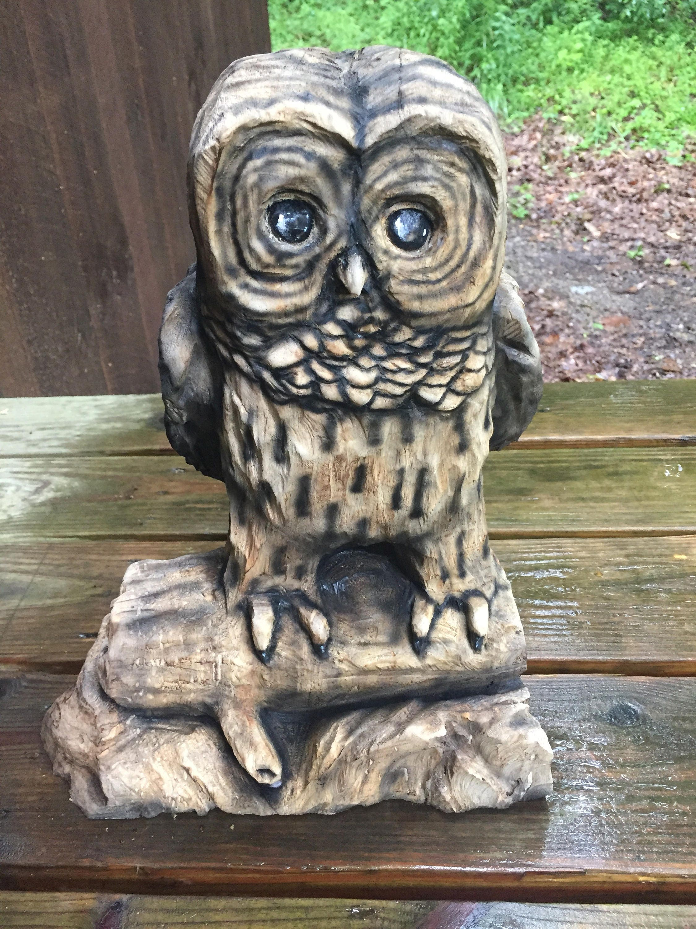 Owl Chainsaw Carving Wood Cute Sculpture Gift For Her Handmade Woodworking Log Home Decor Birthday OOAK By Carte