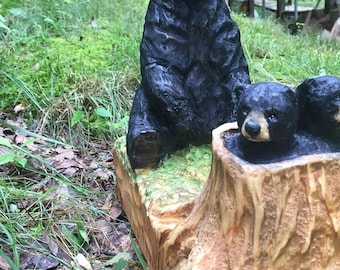 Summer Sale Bears, Wood Carving, Chainsaw Carving by Josh Carte, Wood Art, Hand Carved, Perfect Wood Gift, Gift for Mom, Kitchen Table Art,