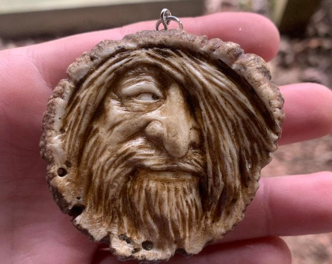 Elk Antler Carving, Antler Pendant, Bone Carving, Bone Necklace, by Josh Carte, Hand Carved Bone Art, Antler Sculpture, OOAK Carving