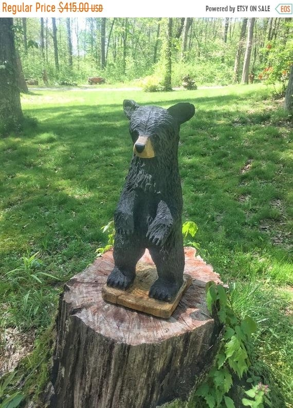 Summer Sale Bear Chainsaw Carving Black Bear Wooden Bear
