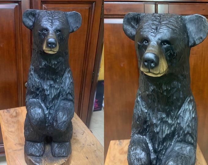 Bear Chainsaw Carving, Bear Wood Carving, Carved Bear, Wooden Bear, Black Bear Sculpture, Bear Statue, by Josh Carte, Log Home Decor
