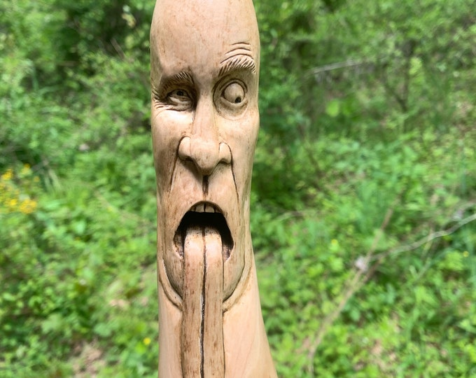 Walking Stick, Wood Carving, Carved Walking Stick, Hiking Stick, Wood Spirit Carving, Hand Carved Wood Art, by Josh Carte, Made in Ohio