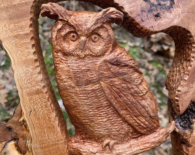 Owl Wood Carving, Hand Carved Wood Art, Maple Burl, Owl Sculpture, by Josh Carte, Log Home Decor, Made in Ohio
