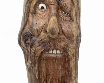Driftwood Carving, Wood Spirit Carving, Walnut, Hand Carved Wood Art, Carving of a Face, by Josh Carte, Unique Art, Original Wood Art