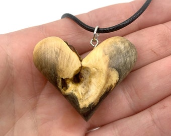 Heart Necklace, Heart Wood Carving, 5th Anniversary Wood Gift, Valentine's Day Gift, Handmade Woodworking, Wood Jewelry, Heart Pendant