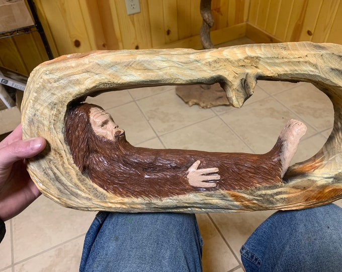 Bigfoot Wood Carving, Hand Carved Bigfoot Sculpture, Wood Wall Art, Sasquatch Wood Carving, by Josh Carte, Wooden Bigfoot, Bigfoot Wall Art