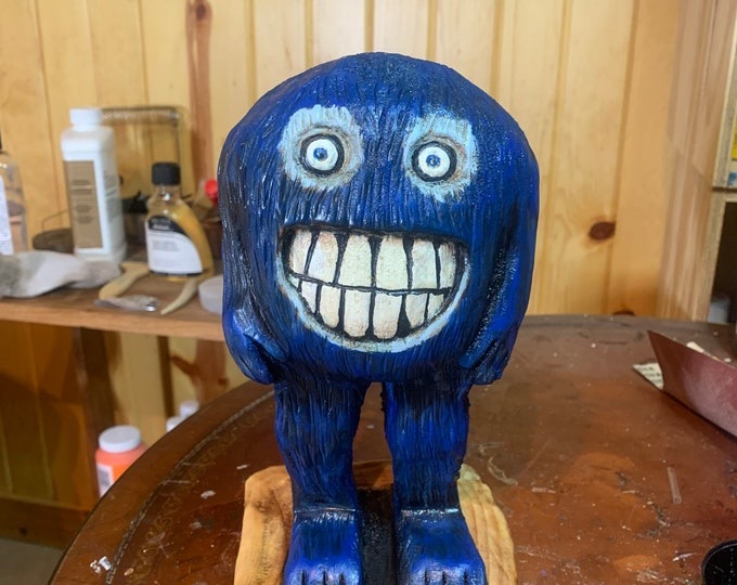 Monster Carving, Blue Monster Chainsaw Carving, Hand Carved Wood Art, by Josh Carte, Made in Ohio, Cute Wood Carving, Handmade Woodworking