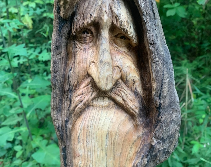 Driftwood Carving, Wood Carving, Wood Spirit Carving, Hand Carved Wood Art, Wood Wall Art, by Josh Carte, Driftwood Art, One Of a Kind