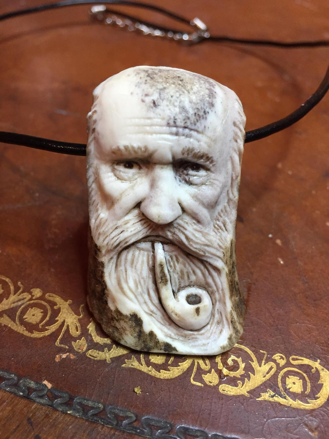 Bone Necklace Antler Pendant Hand Carved Art Pipe Smoker Old Man Perfect Gift Beard Unique Sculpture By Josh Carte Spirit Jewelry