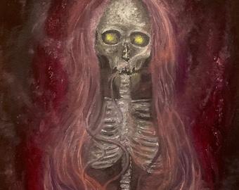 Original Oil Painting of a Skull, Dark Art Painting, Macabre Art Painting, by Josh Carte, Skull Painting, Original Wall Art Painting