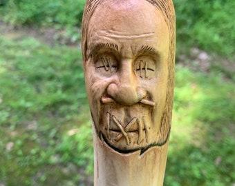 Shrunken Head, Walking Stick, by Josh Carte, Wood Carving, Dark Art, Voodoo, Carving of a Face, Handmade Woodworking