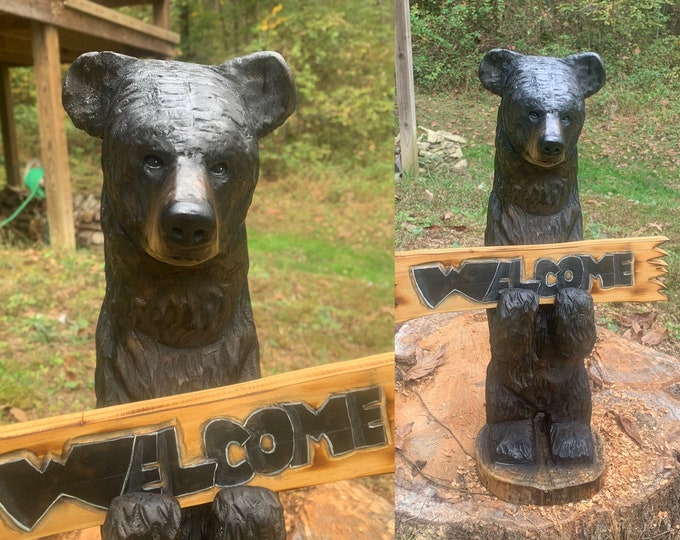 Bear Chainsaw Carving, Black Bear Sculpture, Hand Carved Wood Art, by Josh Carte, Chainsaw Art, Wooden Bear, Carved Bear, Bear Statue