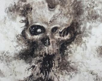 Oil Painting Print, 8x10 Digital Print, Skull Print, Hand Signed Print, Skull Painting, Dark Art Print, Black and Grey Art, Macabre Art