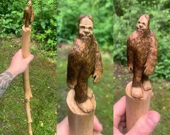 Bigfoot Walking Stick, Bigfoot Wood Carving, Bigfoot Hiking Stick, Handmade Woodworking, by Josh Carte, Hand Carved Wood Art, Sasquatch, Art