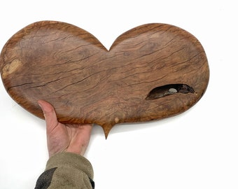 Heart, Wood Carving, 5th Anniversary Wood Gift, Valentine's Day Gift, Handmade Woodworking, by Josh Carte, Wood Wall Art, Hand Carved Wood