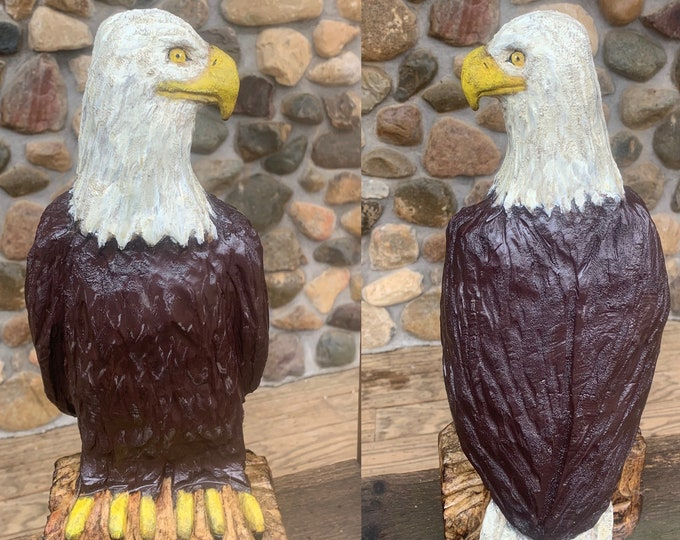 Eagle Chainsaw Carving, Bald Eagle, Hand Carved Wood Eagle, Wooden Eagle, Eagle Sculpture, American Carving, by Josh Carte, Made in Ohio