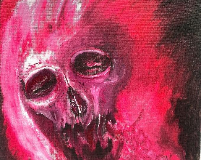 Oil Painting Wall Art, Macabre Art, Skull Painting by Josh Carte, Dark Art Oil Painting, Original Oil Painting, Original Art, Demon Painting