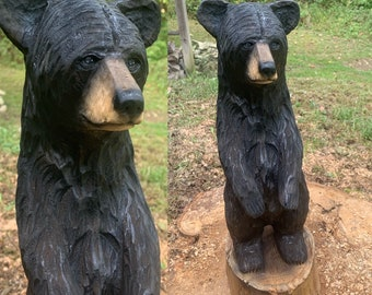 Bear Chainsaw Carving, Wooden Bear, Carved Bear, Bear Statue, Black Bear Carving, Hand Carved Wood Art, Chainsaw Art, by Josh Carte
