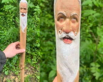 Walking Stick Wood Carving, Old Man Carving, Hiking Stick, Carved Walking Stick, Handmade by Artist, by Josh Carte, Wooden Cane, Wood Art