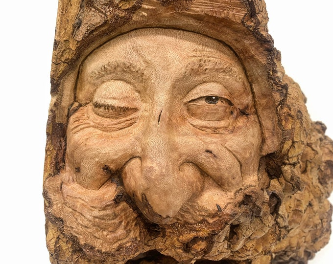 Sycamore Burl, Wood Carving, Carving of a Face, Hand Carved Wood Art, by Josh Carte, Wood Wall Art, Natural Art, Unique Sculpture