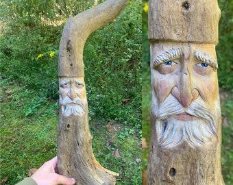 Driftwood Carving, Wizard Wood Carving, Wizard Art, Wood Carving, Hand Carved Wood Art, by Josh Carte, Driftwood Sculpture, Wood Wall Art