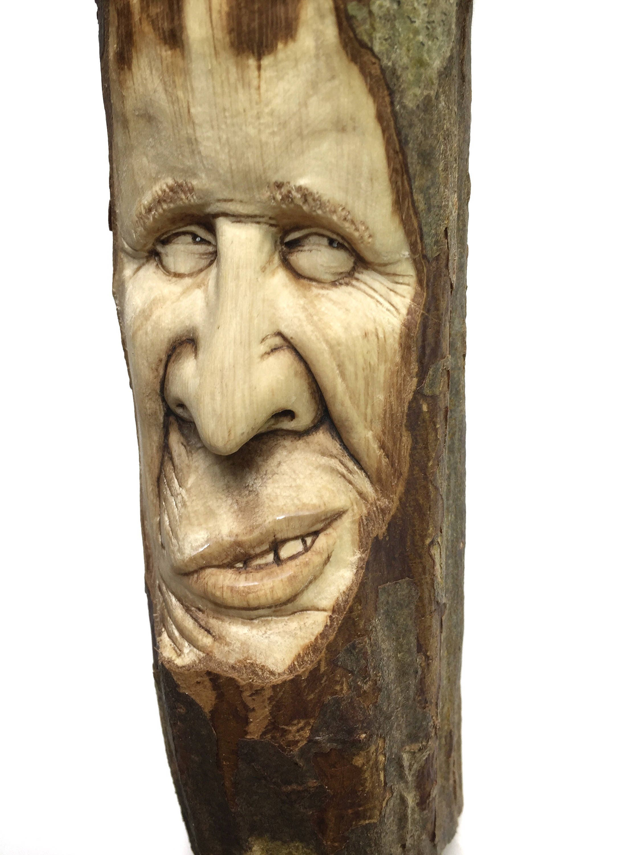 Wood Carving, Wood Spirit, Face Sculpture, Handmade Woodworking ...