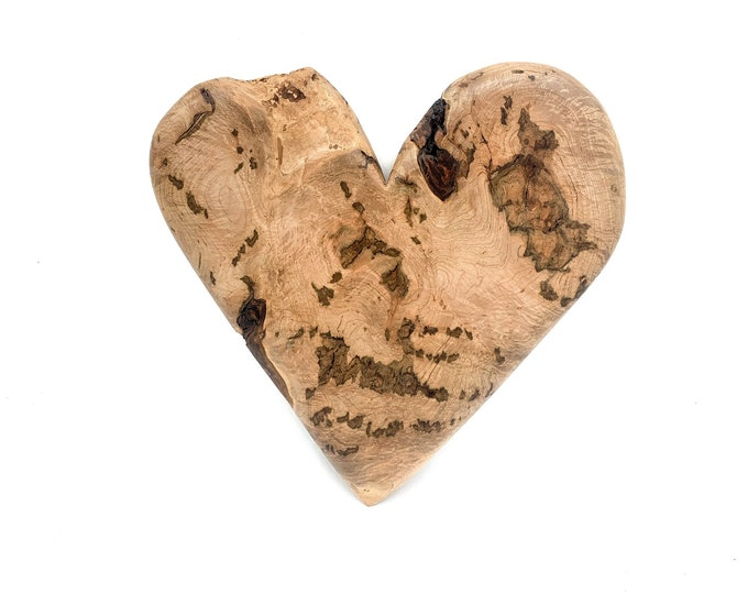 Heart Wood Carving, Valentine's Day Gift, 5th Anniversary Wood, Hand Carved Wood Art, by Josh Carte, Handmade Woodworking, Beautiful Wood