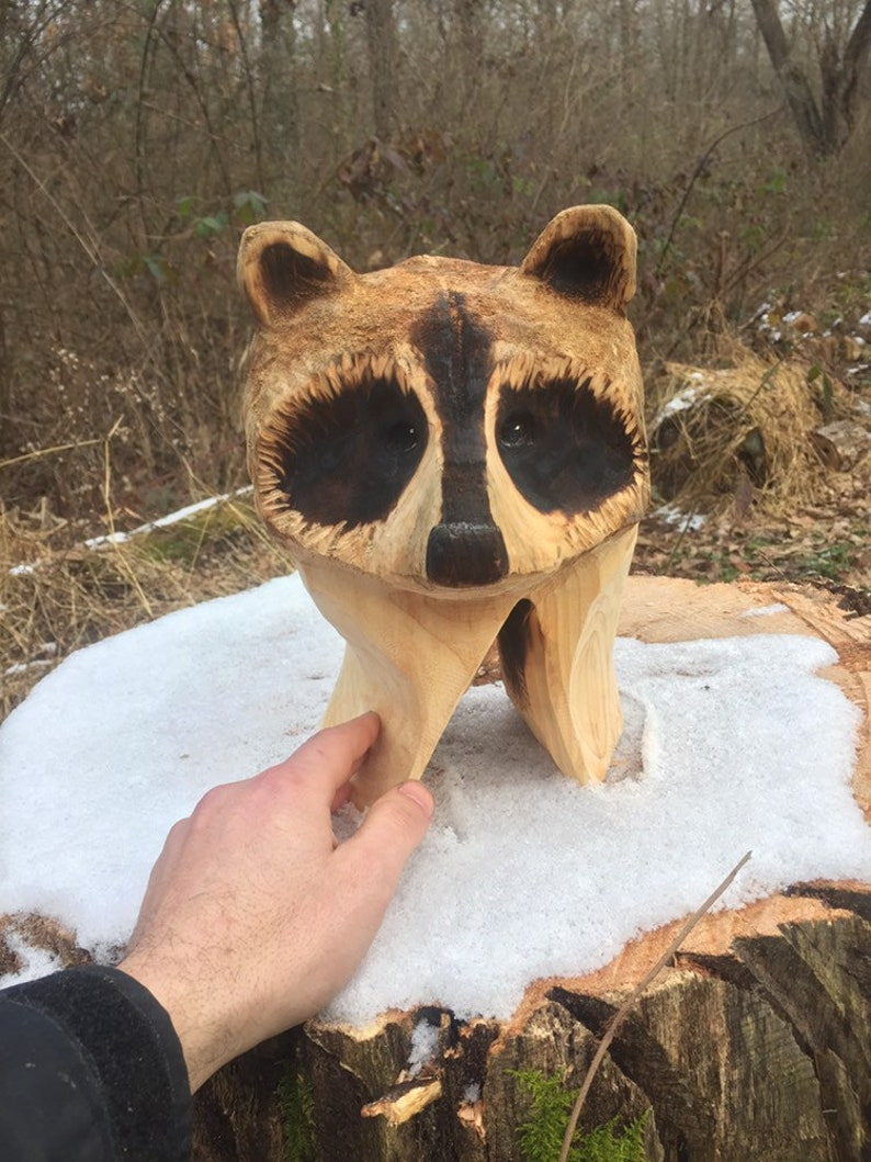 Summer sale raccoon wood carving chainsaw carving made in etsy