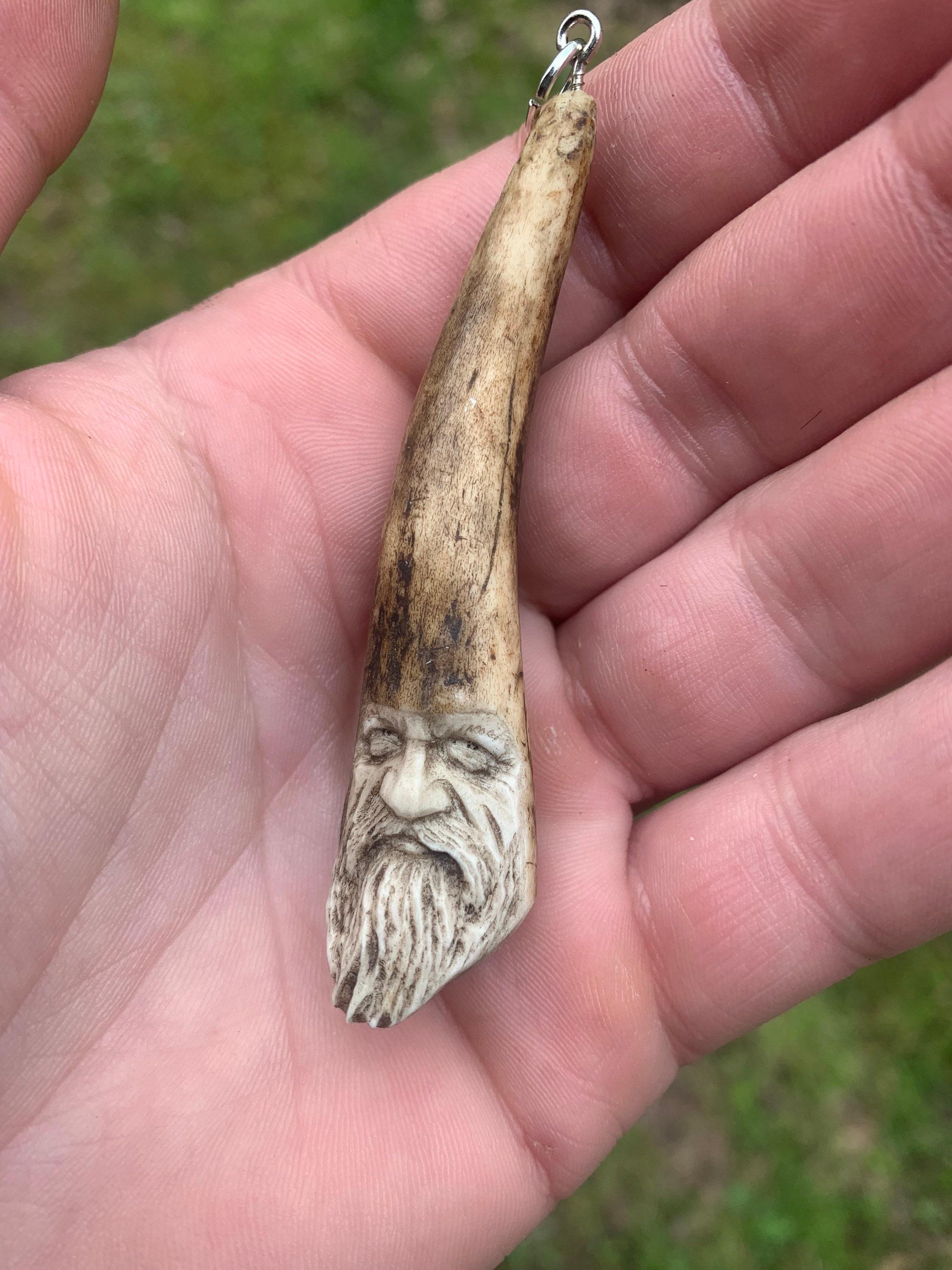 Bone Carving Deer Antler Art By Josh Carte Bone Jewelry Bone Necklace Hand Carved Art Made In Ohio Antler Pendant