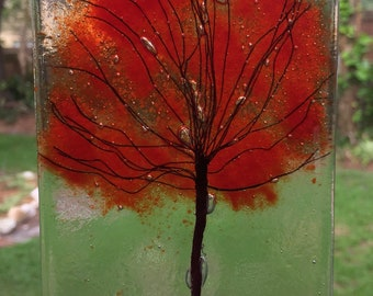 Hand made Autumn Oak Tree, a great gift for a friend, made from fused glass, glass frit, copper wire use as sun catcher or wall decoration.